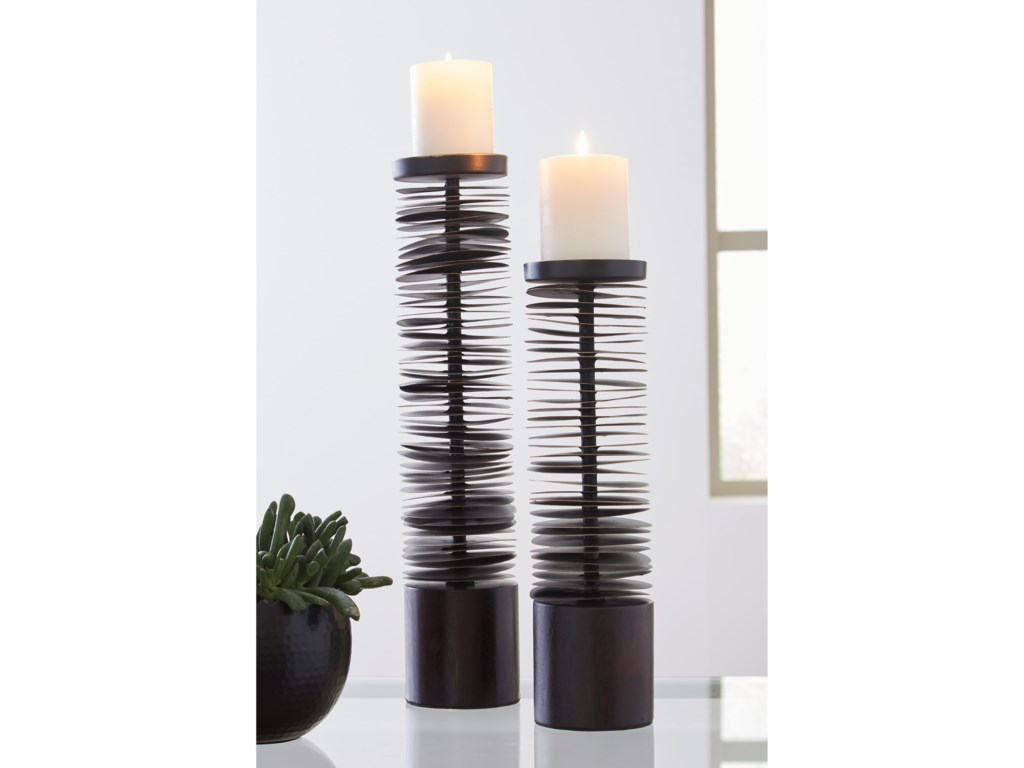 Ashley (Signature Design) AccentsConstance Brown Metal Candle Holder Set