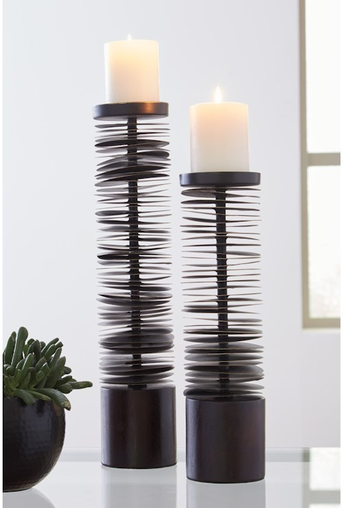 Signature Design by Ashley Accents Constance Brown Metal Candle Holder Set
