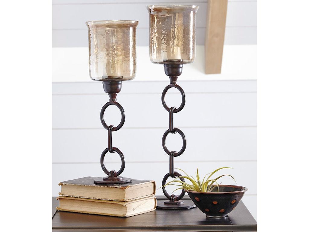 Signature Design by Ashley AccentsOana Bronze Finish Candle Holders, Set of 2