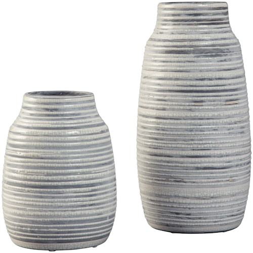 Signature Design by Ashley Accents Donaver Gray/White Vase Set