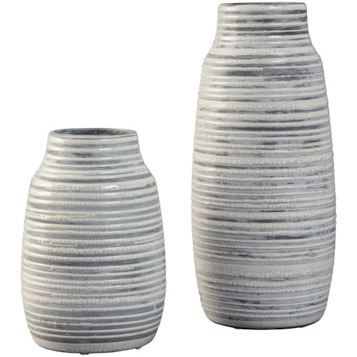 Signature Design by Ashley Accents Donaver Gray/White Vase Set