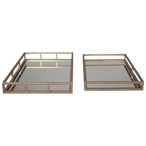 Signature Design by Ashley Accents Ocie Antique Gold Finish Trays (Set of 2)