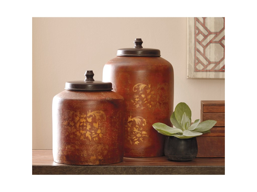 Signature Design by Ashley AccentsOdalis Orange/Tan Jar