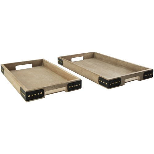 Signature Design by Ashley Accents 2-Piece Missa Brown Tray Set