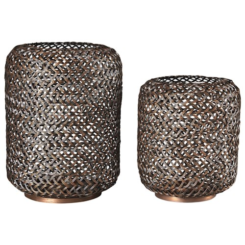 Signature Design by Ashley Accents Odbart Antique Bronze Finish Candle Holders (Set of 2)