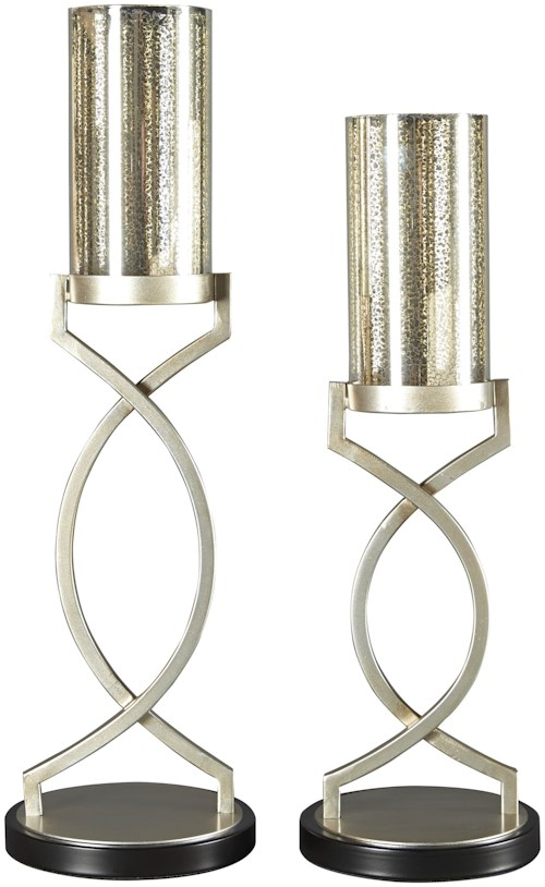 Signature Design by Ashley Accents Odele Silver Finish Candle Holders, Set of 2