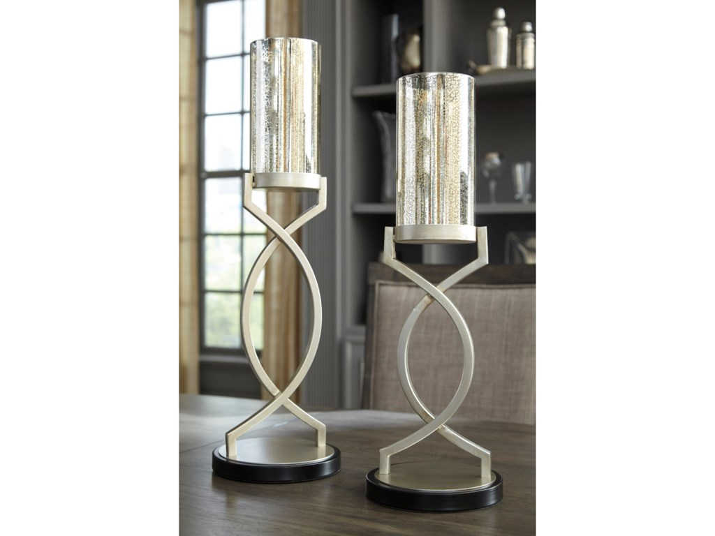 Ashley (Signature Design) AccentsOdele Silver Finish Candle Holders, Set of 2