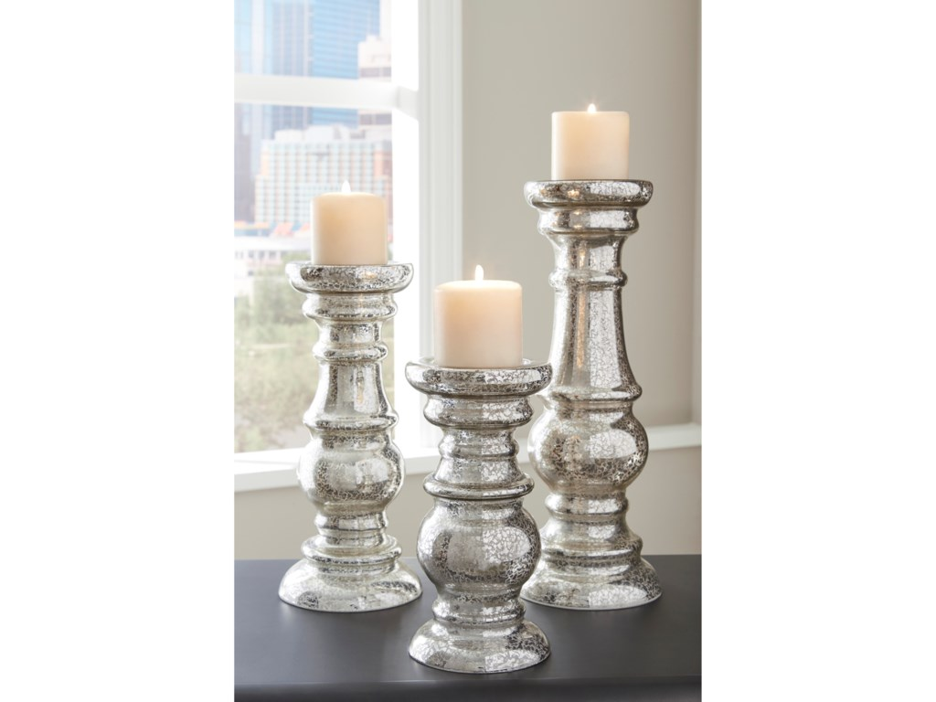 Signature Design by Ashley AccentsRosario Silver Finish Candle Holder Set