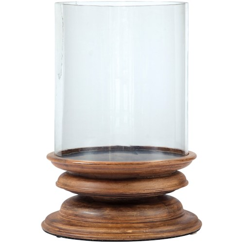 Signature Design by Ashley Accents Dougal Brown Wood/Glass Candle Holder