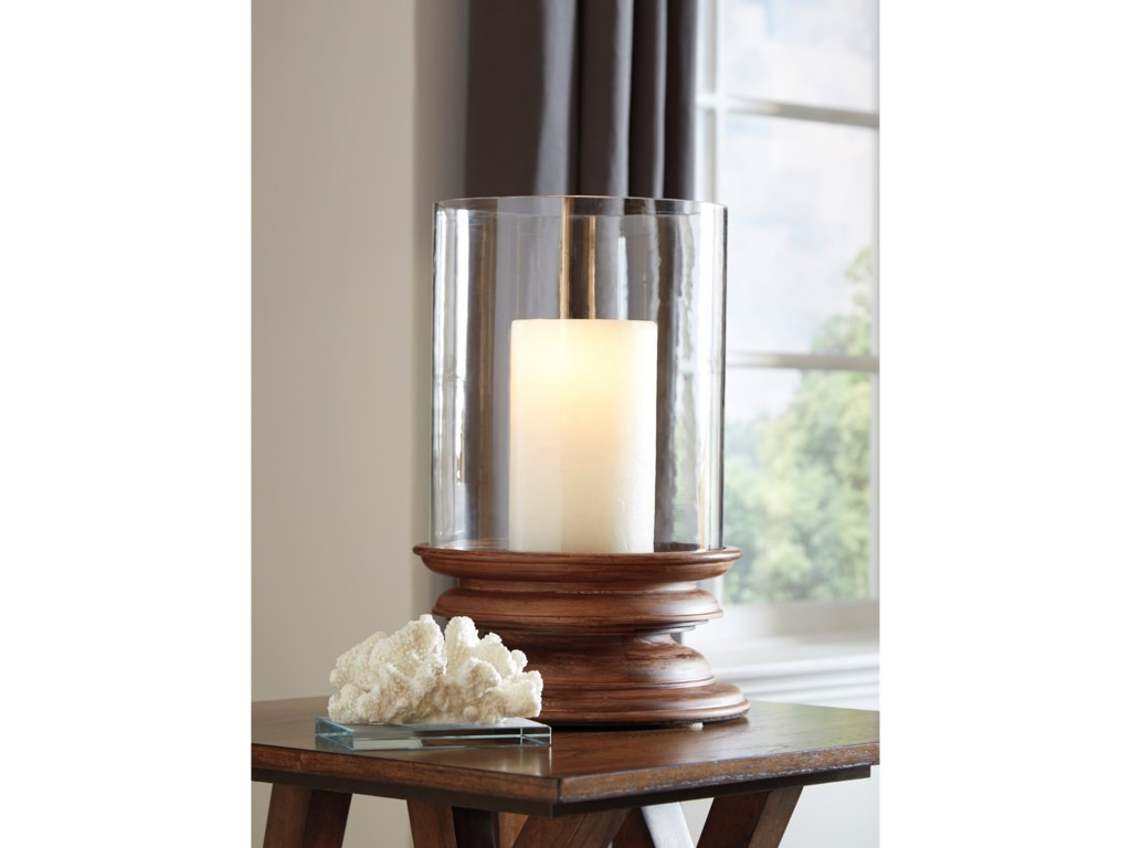 Ashley (Signature Design) AccentsDougal Brown Wood/Glass Candle Holder