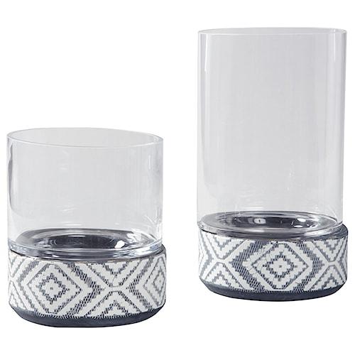 Signature Design by Ashley Accents Dornitilla Black/White Candle Holder Set