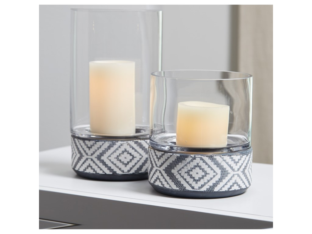 Ashley (Signature Design) AccentsDornitilla Black/White Candle Holder Set