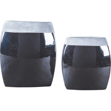 Derring Black/Nickel Finish Vases (Set of 2)