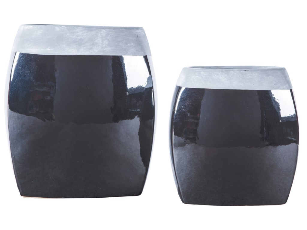 Signature Design by Ashley AccentsDerring Black/Nickel Finish Vases (Set of 2)
