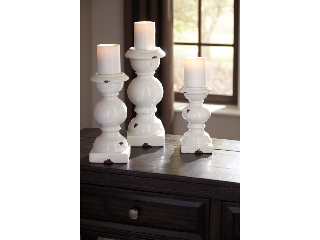 Trendz AccentsDevorah Antique White Candle Holder Set