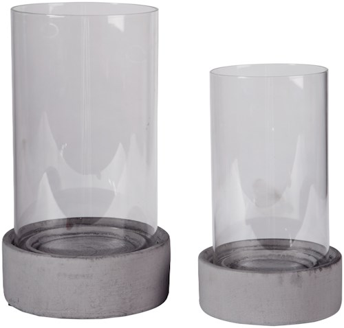 Signature Design by Ashley Accents Dieter Gray Candle Holder Set