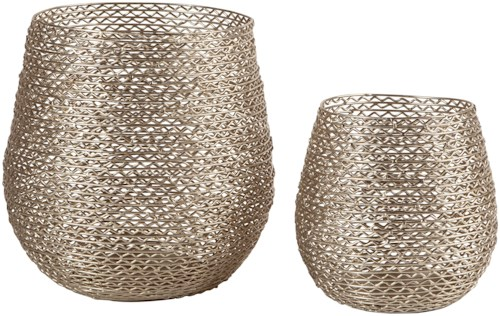 Signature Design by Ashley Accents Desdemona Silver Candle Holders