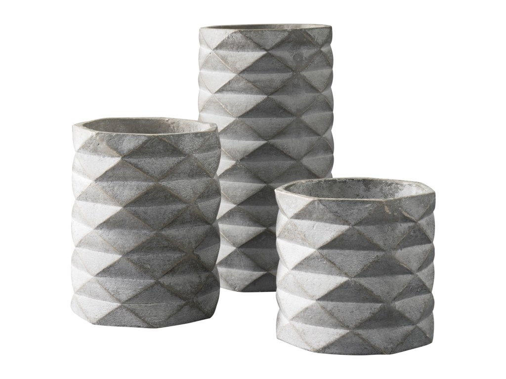 Signature Design by Ashley AccentsSet of 3 Charlot Gray Vases