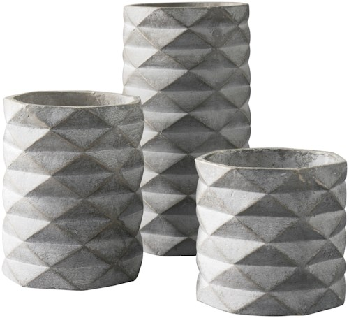 Signature Design by Ashley Accents Set of 3 Charlot Gray Vases
