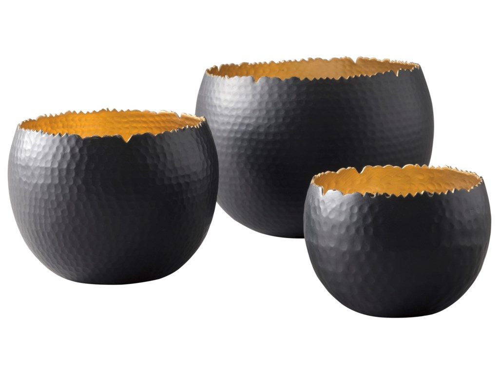 Signature Design by Ashley AccentsClaudine Black/Gold Finish Bowls, Set of 3