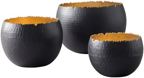 Signature Design by Ashley Accents Claudine Black/Gold Finish Bowls, Set of 3