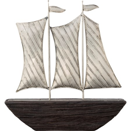 Myla Brown/Silver Finish Ship Sculpture