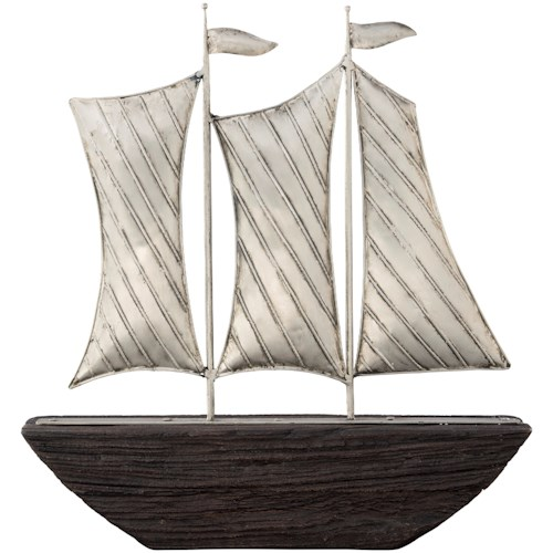 Signature Design by Ashley Accents Myla Brown/Silver Finish Ship Sculpture