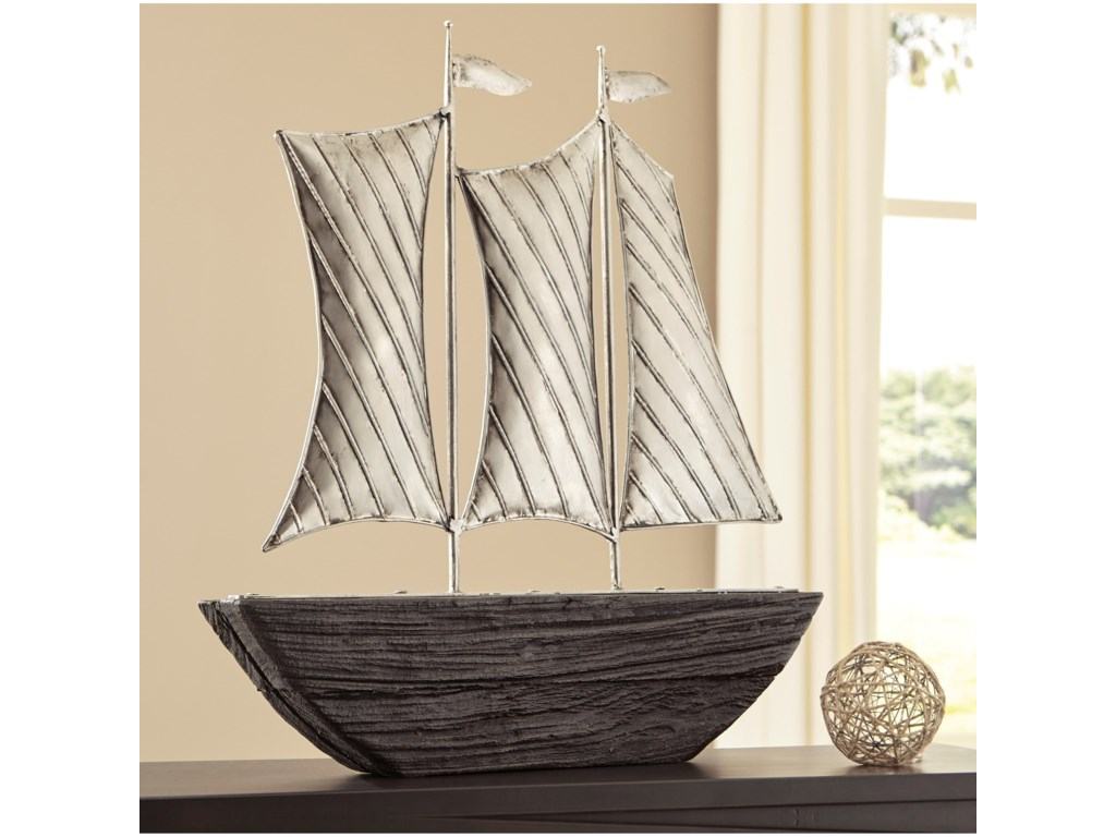 Signature Design by Ashley AccentsMyla Brown/Silver Finish Ship Sculpture
