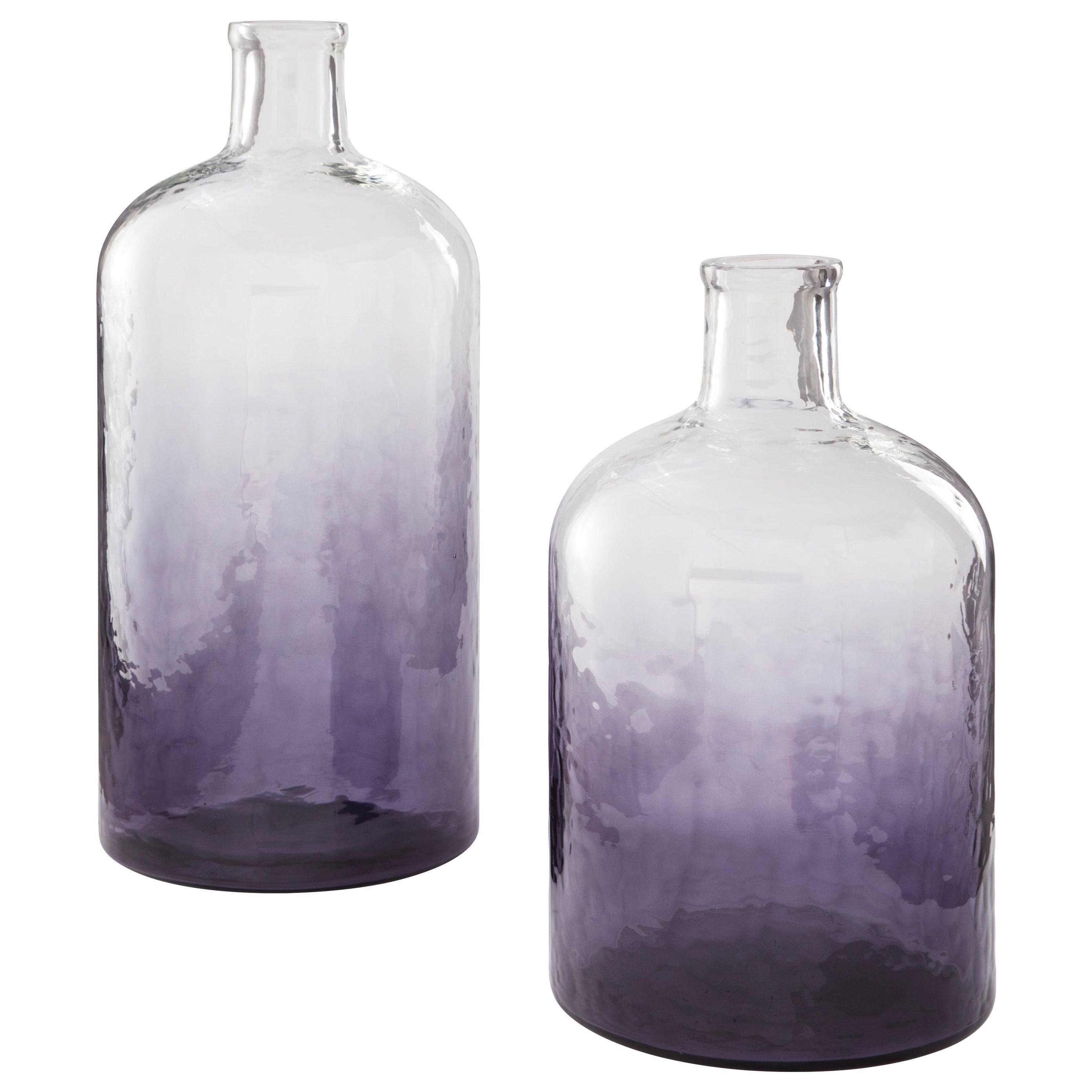 Maleah Purple Glass Vase Set