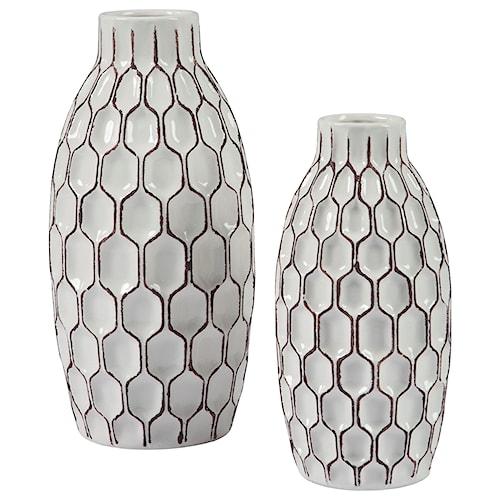 Signature Design By Ashley Accents 2 Piece Dionna White Vase Set