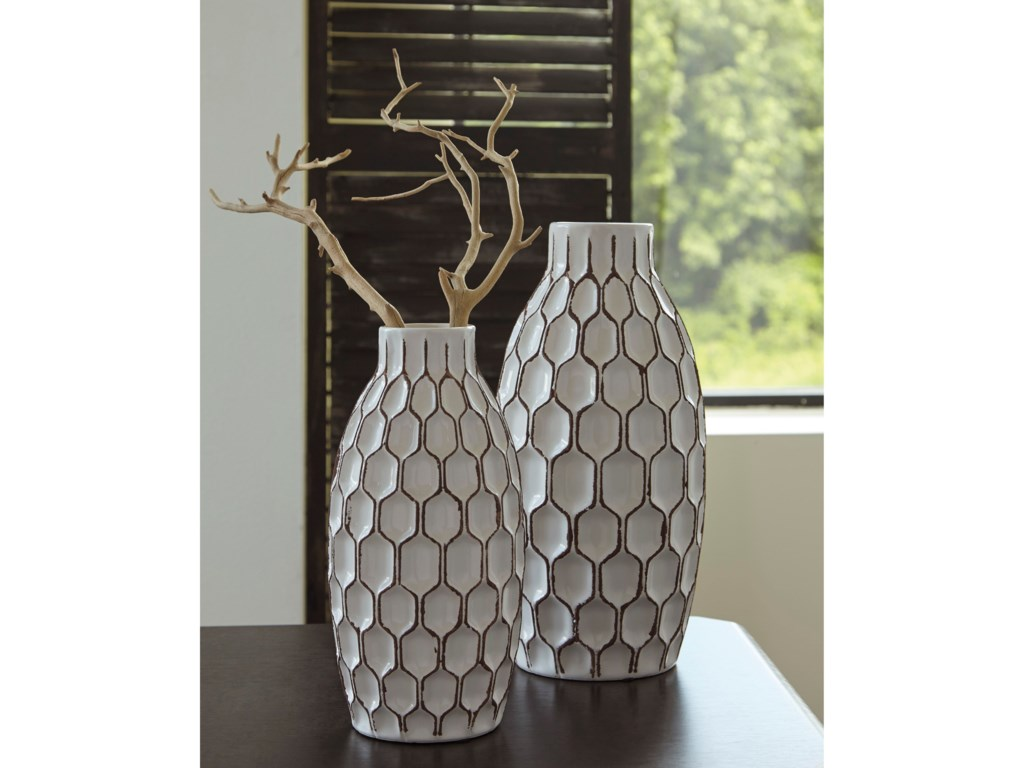 Signature Design by Ashley Accents2-Piece Dionna White Vase Set