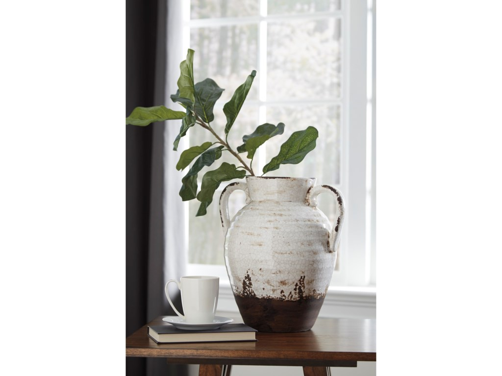 Signature Design AccentsDion Distressed White Vase
