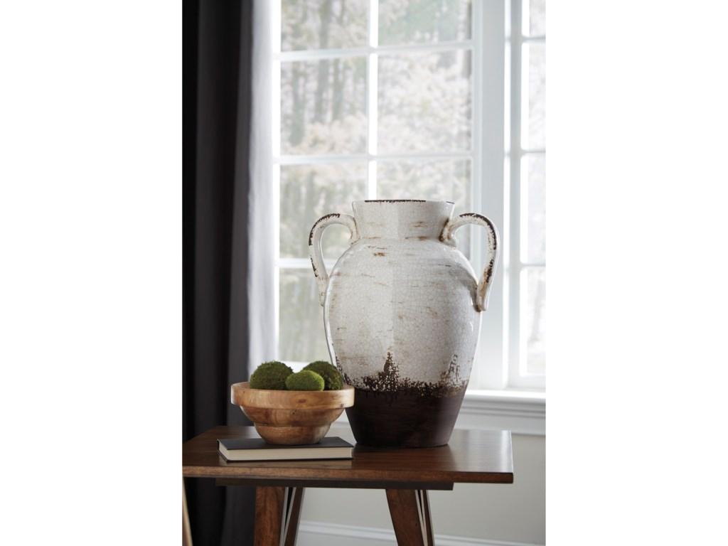 Signature Design by Ashley AccentsDion Distressed White Vase