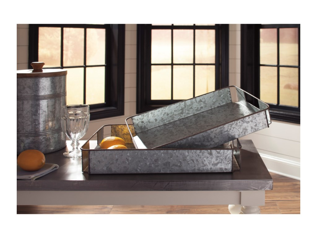 Signature Design by Ashley Accents2-Piece Dido Gray/Black Tray Set