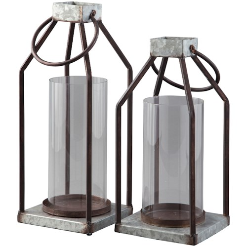 Signature Design by Ashley Accents Diedrick Gray/Black Indoor/Outdoor Lantern Set