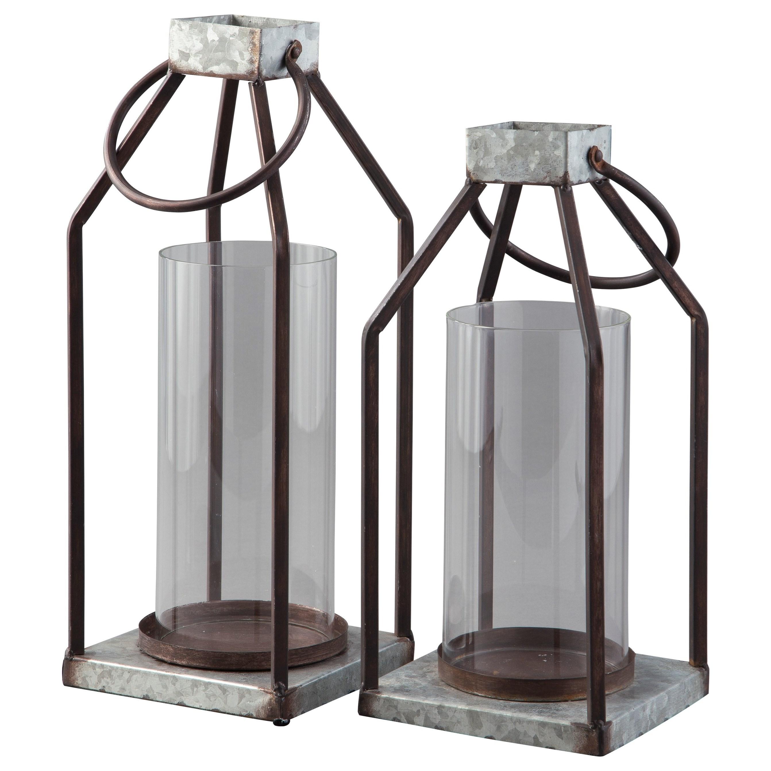 Accents Diedrick Gray/Black Indoor/Outdoor Lantern Set