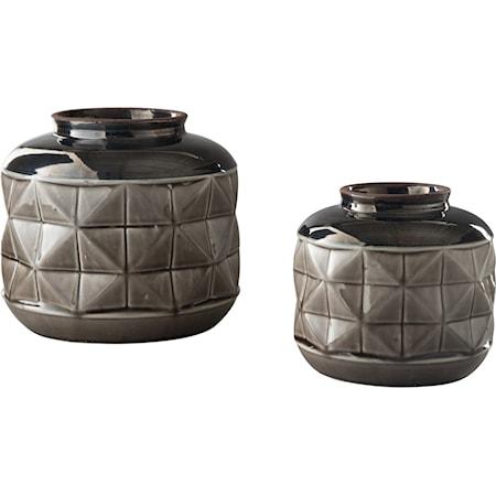 Eire Taupe/Black Vase Set