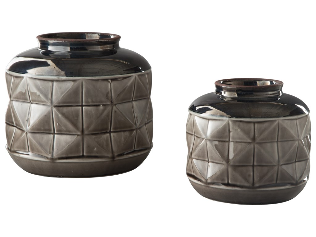 Signature Design by Ashley AccentsEire Taupe/Black Vase Set