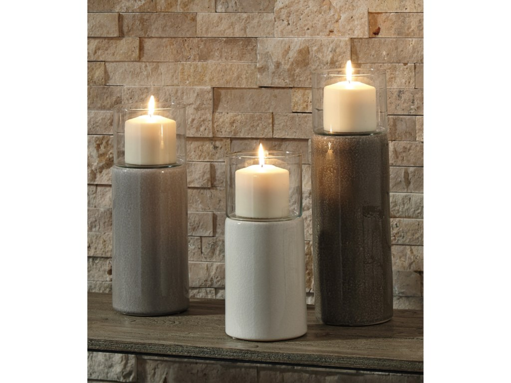 Signature Design by Ashley AccentsDeus Gray/White/Brown Candle Holder Set