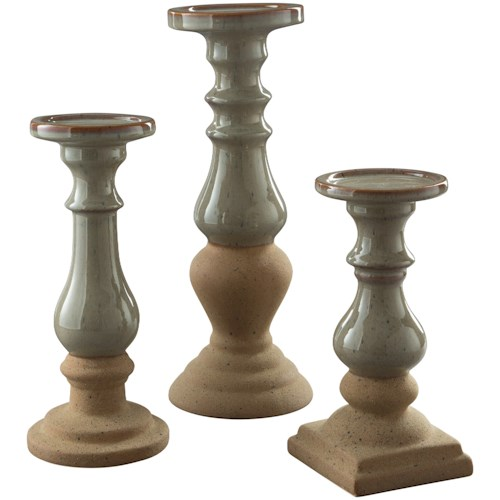 Signature Design by Ashley Accents Emele Taupe Candle Holder Set