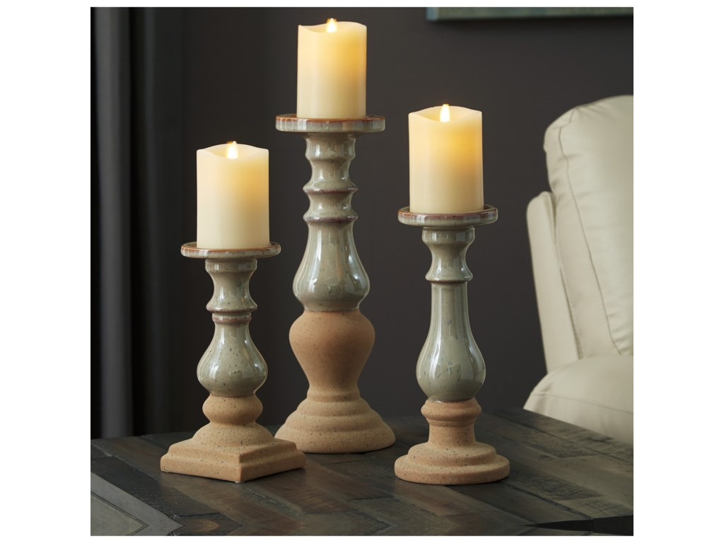 Signature Design by Ashley AccentsEmele Taupe Candle Holder Set