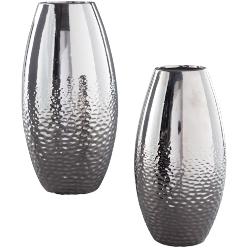 Signature Design by Ashley Accents Dinesh Silver Finish Vase Set