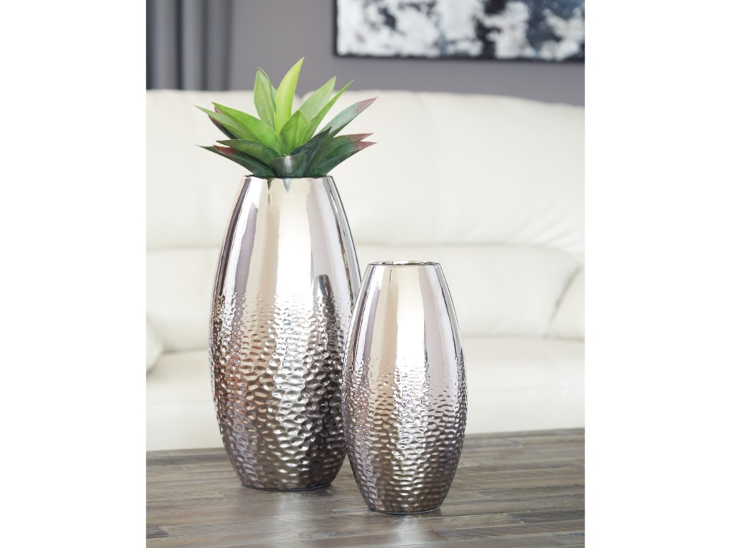 Ashley (Signature Design) AccentsDinesh Silver Finish Vase Set