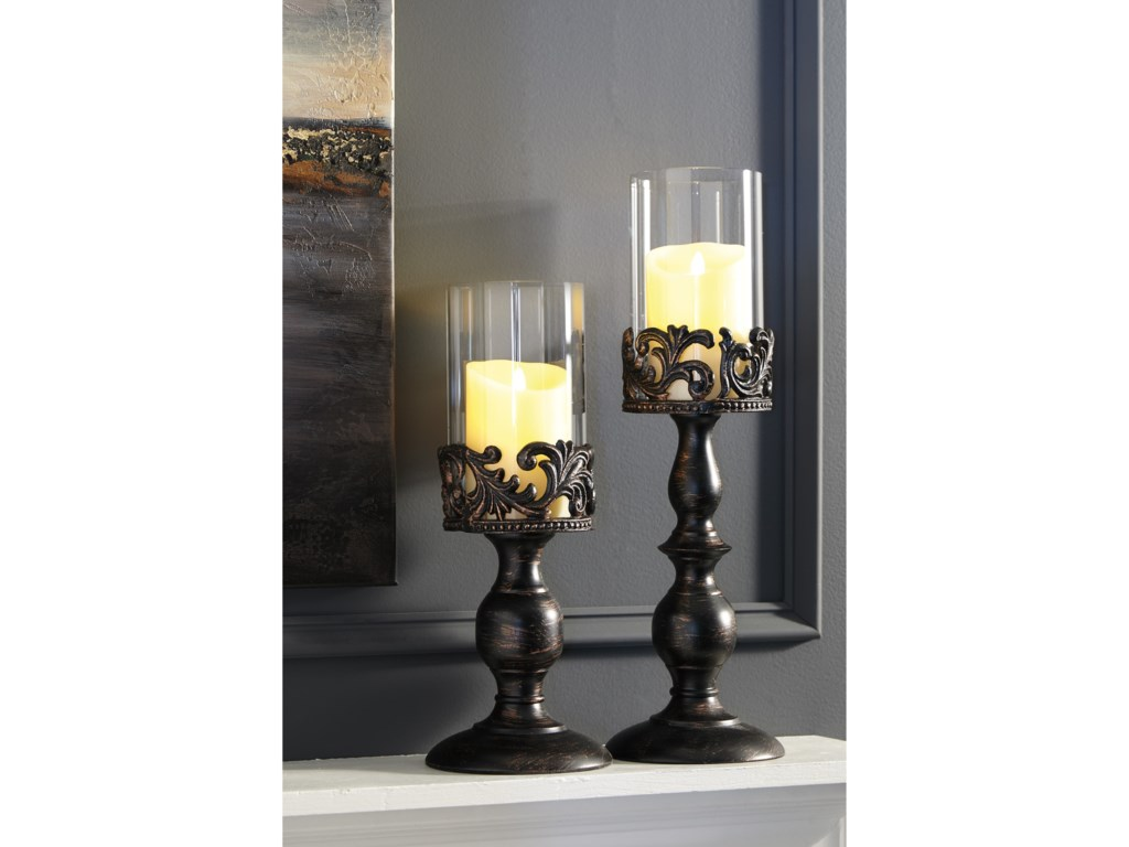 Signature Design AccentsConstance Antique Black Candle Holder Set