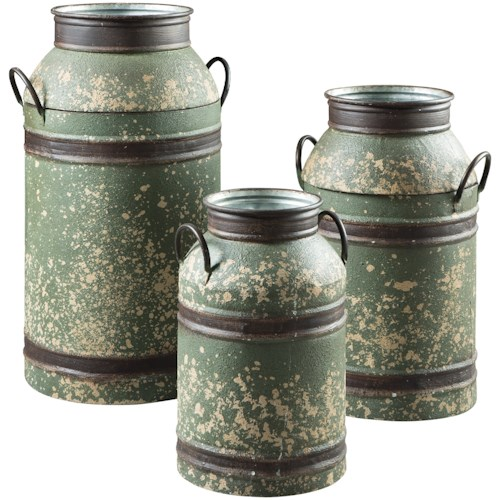 Signature Design by Ashley Accents Elke Antique Green/Brown Milk Can Set