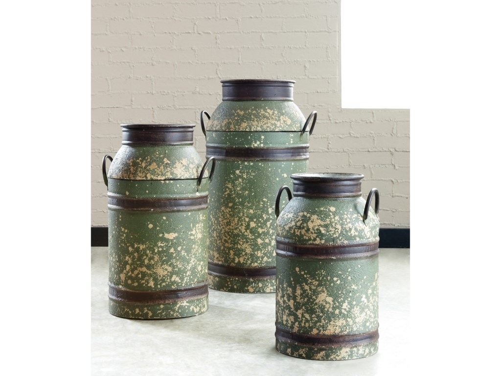 Ashley (Signature Design) AccentsElke Antique Green/Brown Milk Can Set