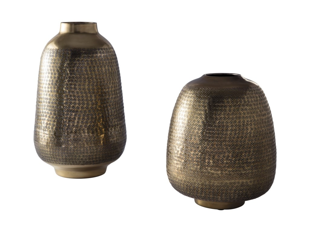 Ashley Signature Design AccentsMiette Antique Brass Finish Vase Set