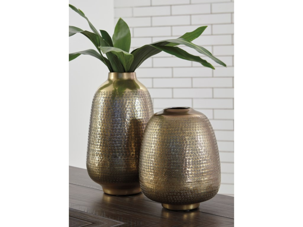 Ashley (Signature Design) AccentsMiette Antique Brass Finish Vase Set