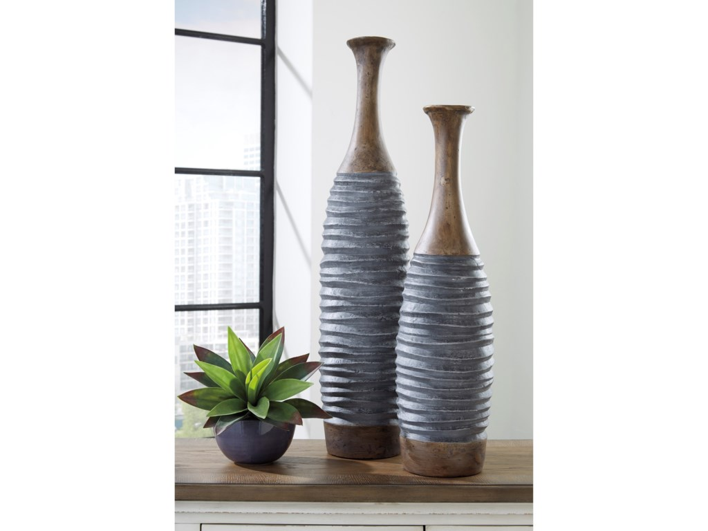 Signature Design by Ashley AccentsBlayze Antique Gray/Brown Vase Set