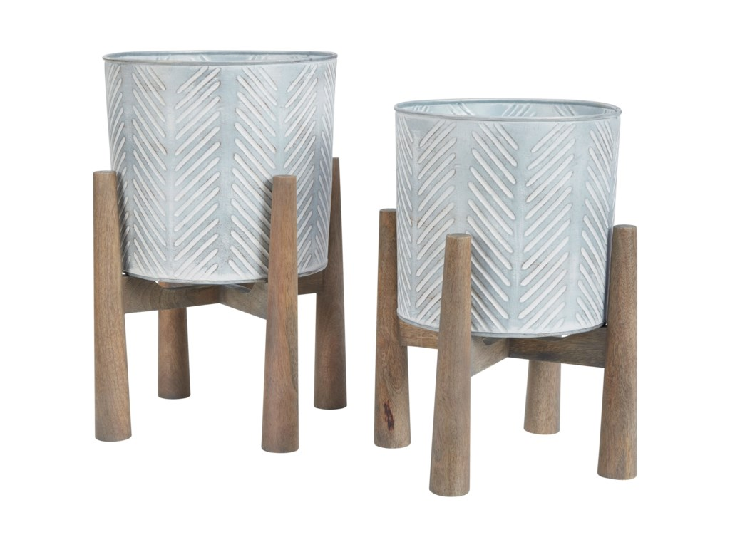 Signature Design by Ashley AccentsDomele Antique Gray/Brown Planter Set